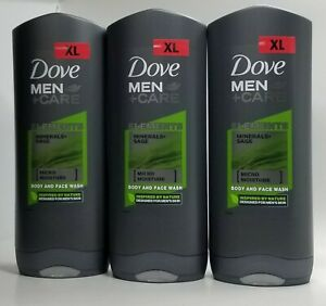 Pack Of 3 Dove Men Care Elements Body Wash Mineral Sage 13 5 Ounce 400 Ml Ebay