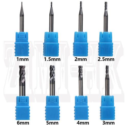 1-6mm CNC Lathe Milling Cutter End Mill Drill Bit 4Flutes Tungsten Steel Endmill