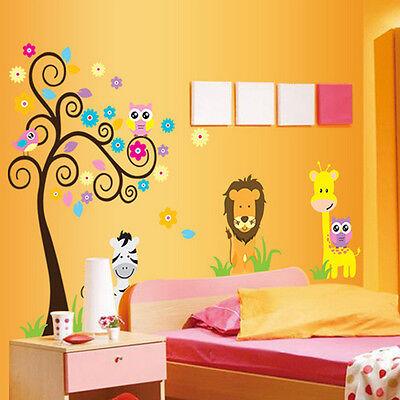 Owl Animal Lion Jungle Giraffe Tree Wall Stickers Nursery Baby Bedroom Decals