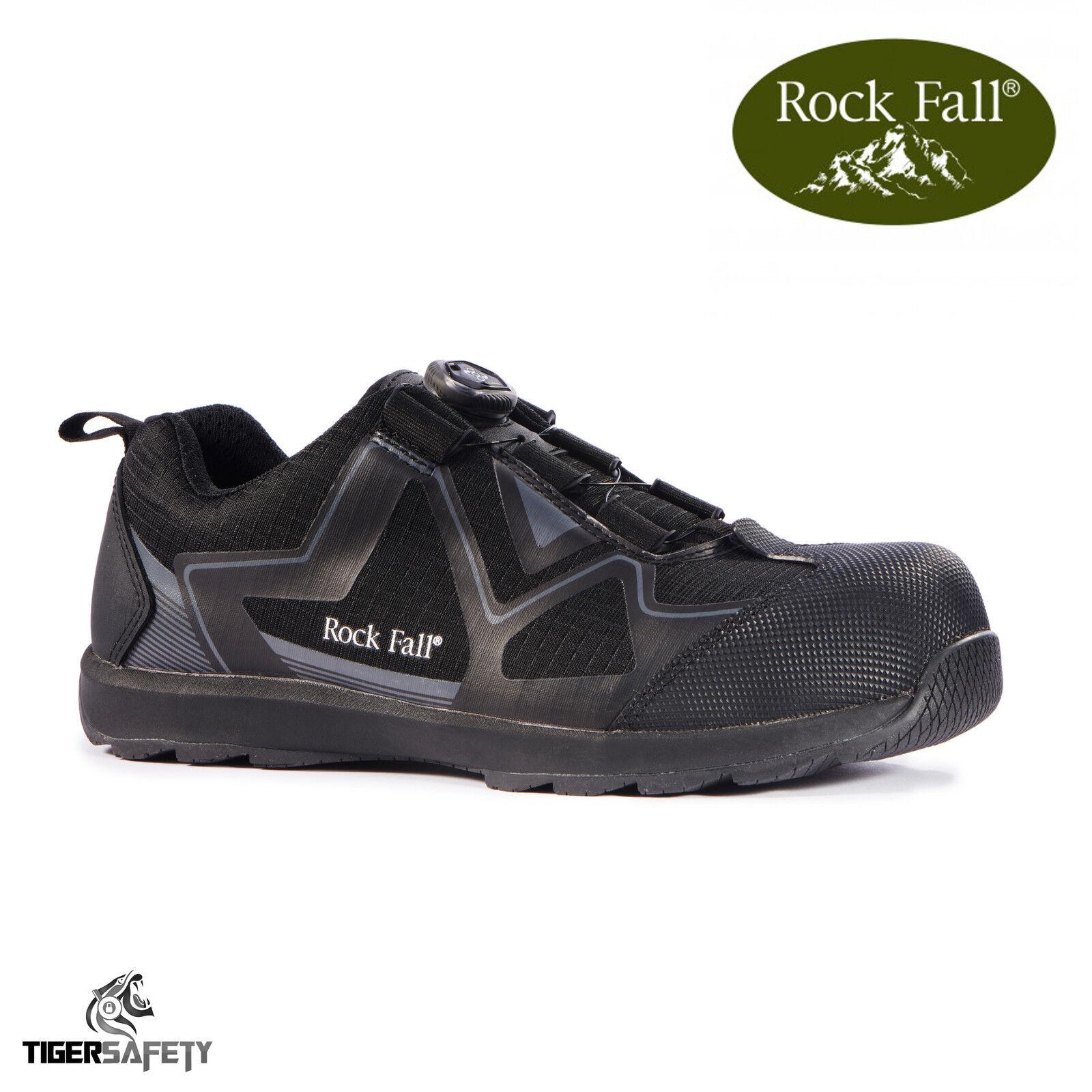 Rock Fall Nero Volta RF140 Sb Src Nero Fall Elettrico Hazard Boa Lacci Scarpe di Sicurezza c2239d