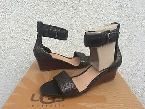 ebbe3b1e31c Details about UGG CHAR METALLIC ANKLE STRAP SUEDE WEDGE HEELS SANDALS, US  5.5/ EUR 36.5 ~ NIB