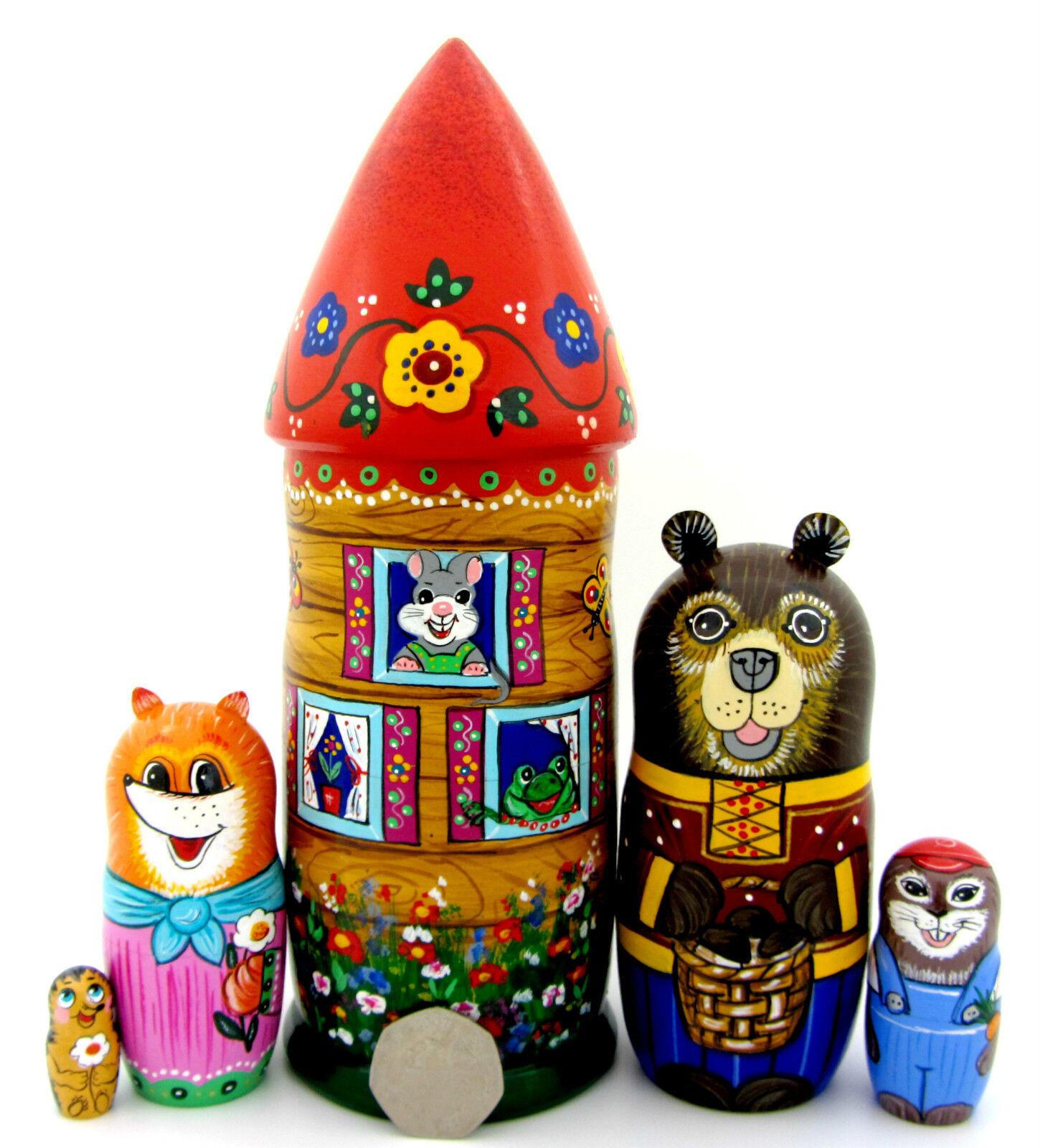 Nesting Dolls Matryoshka Russian Genuine 5 Fairy tale TEREMOK Bear Fox Rabbit