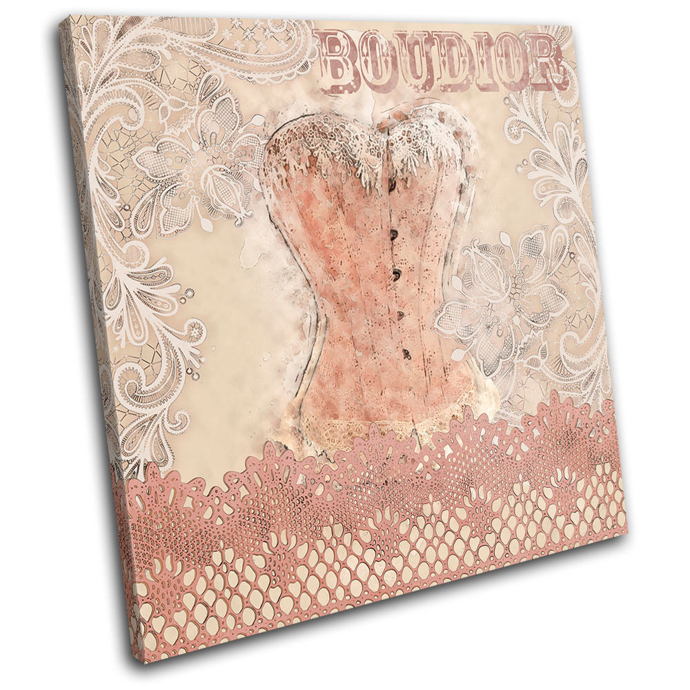 Boudior Text Corset Lace  Fashion SINGLE TELA parete arte foto stampa