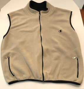 Champion-Brown-Zipper-Pockets-Fleece-Vest-Large