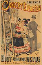 Original Vintage Poster Concert Europeen Art Nouveau Theater 1895 French Flowers
