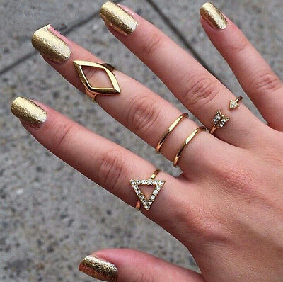5pcs/set Hot Mid Midi Above Knuckle Ring Band Gold Silver Tip Finger Stacking EY