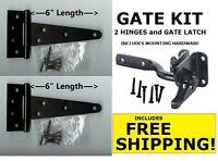 Two Wood Gate Kits Heavy Duty Steel Hardware Kits Includes 4 Hinges 2 Latches