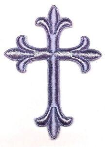 Vintage-Liturgico-Cruz-Bordado-para-Coser-Lila-7-6cmx-10-2cm-Emblema-Parche-2PC