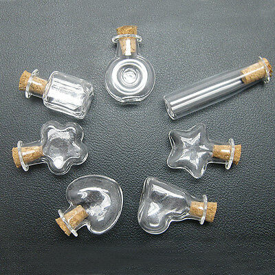 6-1200pcs Glass Mini Display Hand-Blown Bottles 7 Style