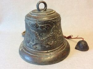 Bell-Bronze-of-Monastery-Asia-the-South-Pattern-Dragon-and-Turtle-China