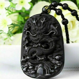 2Natural-Black-Obsidian-Hand-Carved-Dragon-Lucky-Blessing-Beads-Pendant-Necklace
