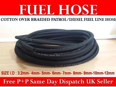 10 Metres Of Braided Fuel Hose//Petrol Pipe 5mm Internal Diameter
