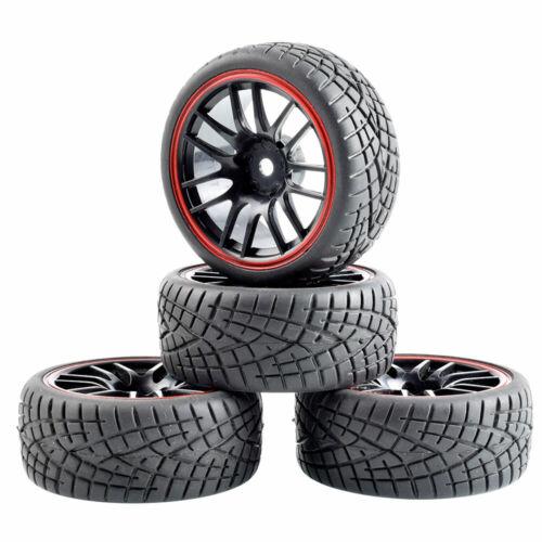 Rim 9068 RC Toys 1//10 On-Road Car Racing Grip Tires W//Sponge /& Wheel 4PCS
