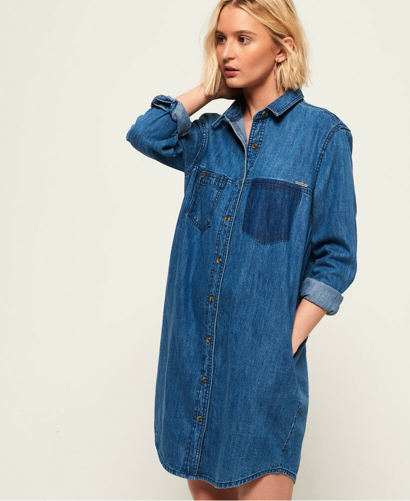 New Womens Superdry Oversized Denim Shirt Dress Deep bluee