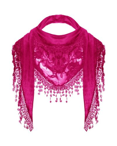 NEW WOMEN LADIES MESH LACE TRIANGLE EMBROIDERED NECKERCHIEF SCARF SUMMER SNOOD