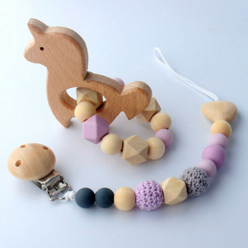 2pcs//set Baby Dummy Clips Infant Silicone Wooden Teether Dummy Chains Holder New