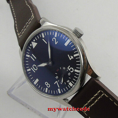 44mm parnis black dial luminous marks seagull 6498 hand winding mens watch P33