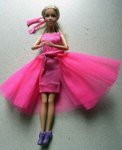 Barbie doll Blonde hair with bright pink handmade dress & new shoes