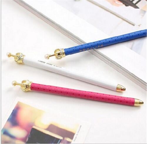 Fine 12X Colourful Crown Blue Ink Elegant Cute Pearl Gel Pen Office Supply TBUS