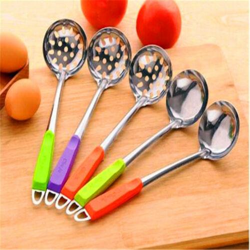 Soup Spoon Colander Strainer Long Handle Stainless Steel Filter Kitchen J