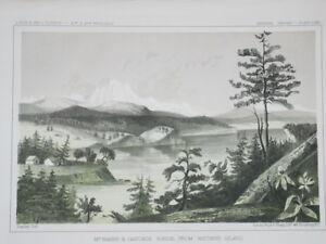 "1976 Vintage CITY /""UNION CA. ON HUMBOLDT BAY /"" Color Art Plate Lithograph 1857"