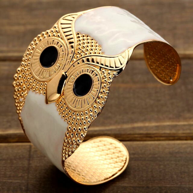 ETHIC Egyptian Golden Owl Cleopatra Cuff Bangle Pharaoh Bracelet Party Jewelry