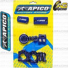 Apico Bling Pack Blue Blocks Cap Plug Clamp Cover For Kawasaki KXF 250 2011-2016
