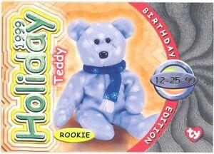 - 1998 HOLIDAY TEDDY Series 3 Birthday TY Beanie Babies BBOC Card SILVER