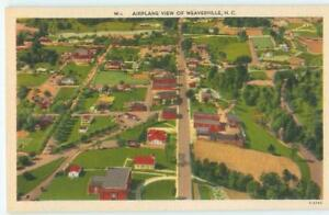 Weaverville-NC-Airplane-Aerial-View-of-Town-1940s-Linen-Antique-Postcard-26249