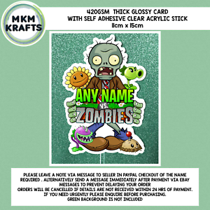 Plants v Zombies inspired Birthday Cake Card Topper Personalised Name