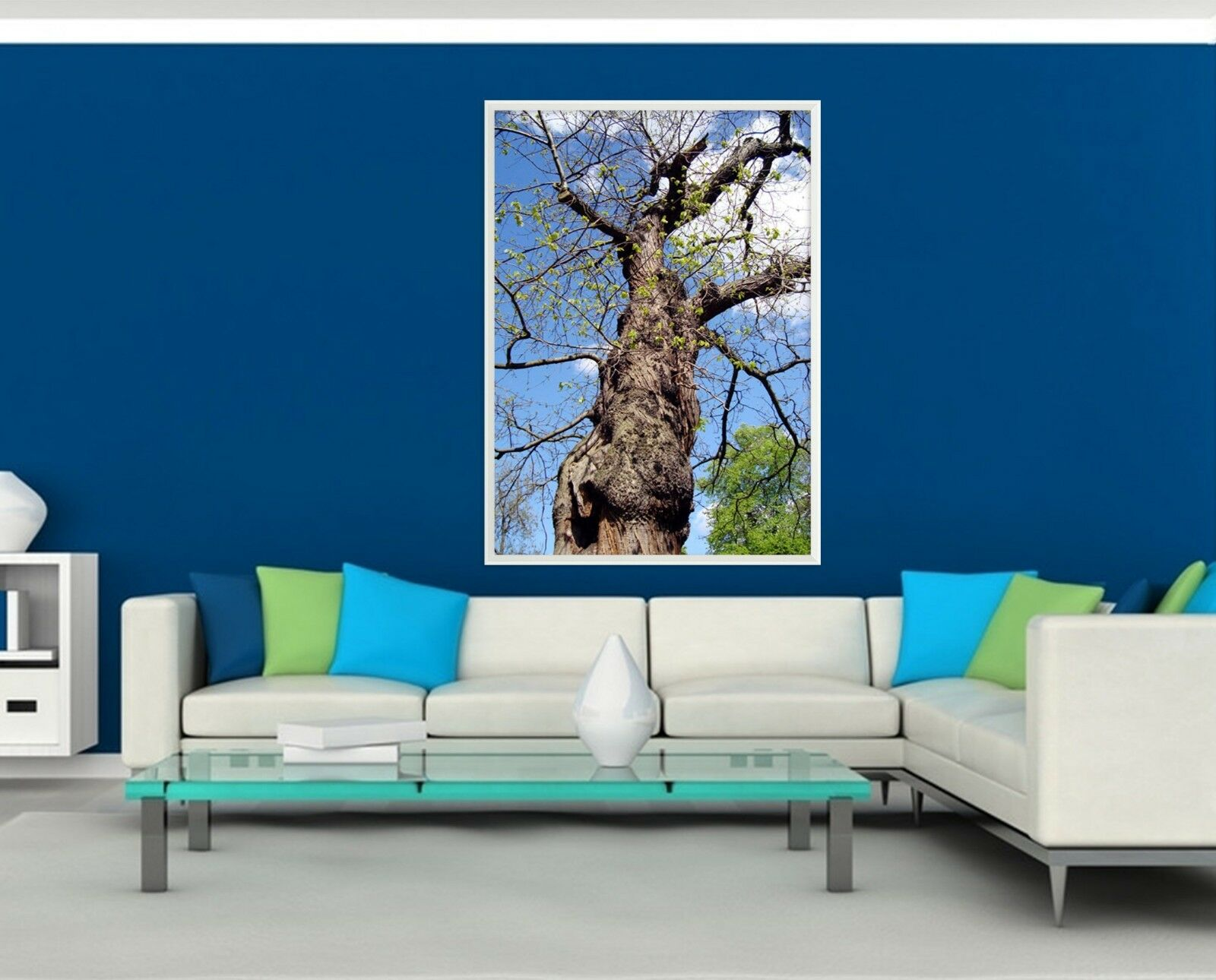 3D bluee Sky Tree 55 Fake Framed Poster Home Decor Print Painting Unique Art