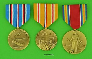 Image Is Loading 3 WWII US Medal Set American Amp Asiatic