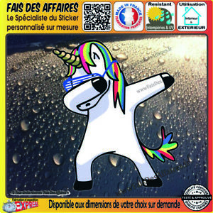 Stickers-Autocollant-unicorn-licorne-dab-humour-decal