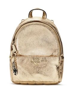 999ea2933a1 NEW VICTORIA S SECRET METALLIC CRACKLE GOLD MINI CITY BACKPACK PURSE ...