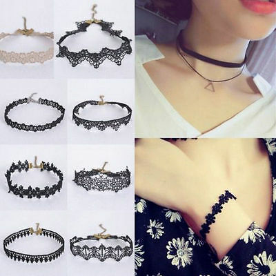 Gothic Black Lace Retro Choker Collar Necklace Jewelry Lace Flower Pendant New