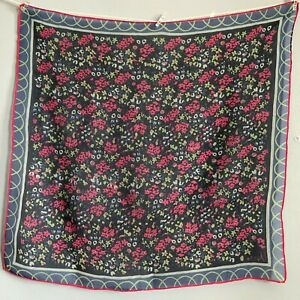 21-034-Vera-Neumann-Sheer-Floral-Pink-Blue-Bright-Scarf-Vintage-Cottagecore