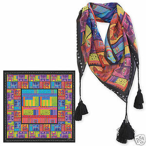 Laurel-Burch-100-Poly-Rayon-Square-Scarf-Black-Brights-Cat-Faces-Neck-Scarf-New