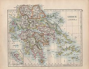 1902 MAP GREECE MOREA ARCADIA CYCLADES LACONIA LARISSA eBay