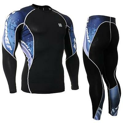 FIXGEAR C2L/P2L-B48 SET Compression Shirts & Pants Skin Tights MMA Training Gym