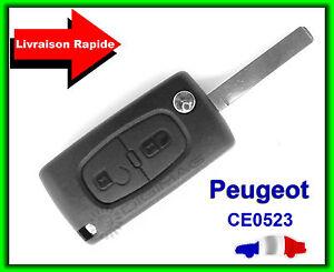 Coque-Telecommande-Plip-Cle-Pour-Peugeot-2-Bouton-107-207-307-407-CE0523-LAME