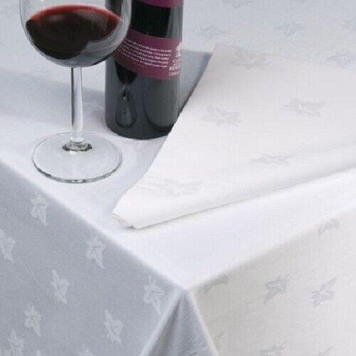 Luxe Feuille de Lierre nappe blanche Égyptien 100/% Coton Damassé Table Housse en tissu
