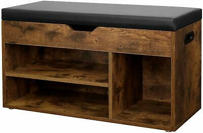 3 offene F/ächer Sitzbank dunkelbraun LHS30BX Vintage Stauraum unter der Sitzfl/äche VASAGLE Schuhbank bis 150 kg belastbar Wohnzimmer Schlafzimmer gepolstert Flur Schuhaufbewahrung