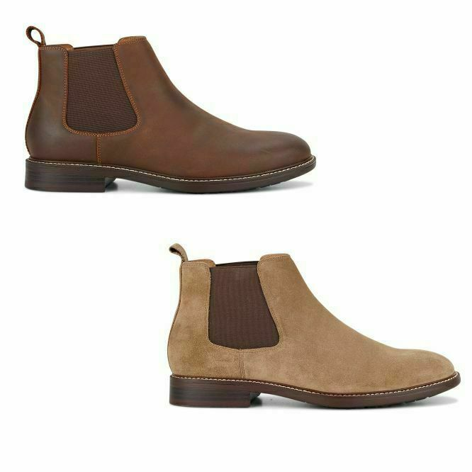 Hush Puppies Hanger Boots Mens Slip On Pull Shoes Leather Brown Taupe Suede Boot