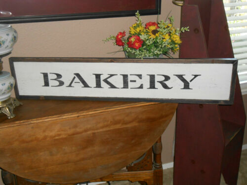 "BAKERY   Vintage Antique Style  primitive wood sign 9/"" X  40.5 /"" w//raised border"