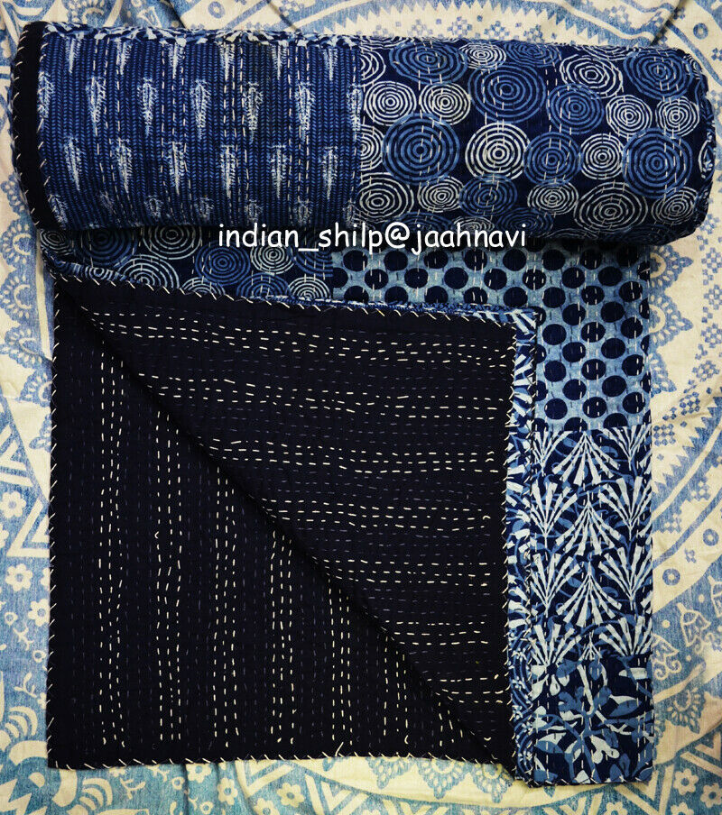 Kantha Quilt Indian Cotton Patchwork Bedspread Bedding Coverlet Blanket Indico