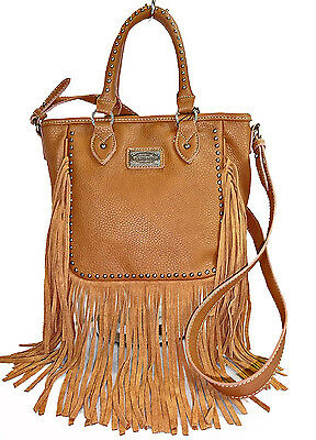 Trinity Ranch® Studded, Medium Top-Handle Crossbody Tote w/ Leather Fringe-Brown