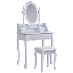 Schminktisch-Verona-weiss-Frisiertisch-Set-Schminkkommode-mit-Spiegel-inkl-Hocker