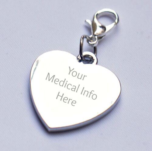 ENGRAVABLE encanto del corazón para médicos Pulsera cualquier message//wording Personalizado