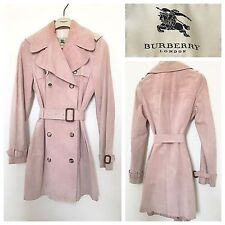 burberry trench coat outlet ozz5  Burberry Trench Coat Pink Suede Classic Mac Raincoat Long Jacket  Size UK 8