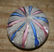 Vintage Murano Italy Lattice Ribbon Glass Paperweight Blue Pink White
